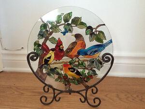 Assiette décorative en verre