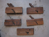 5 wooden wood planes