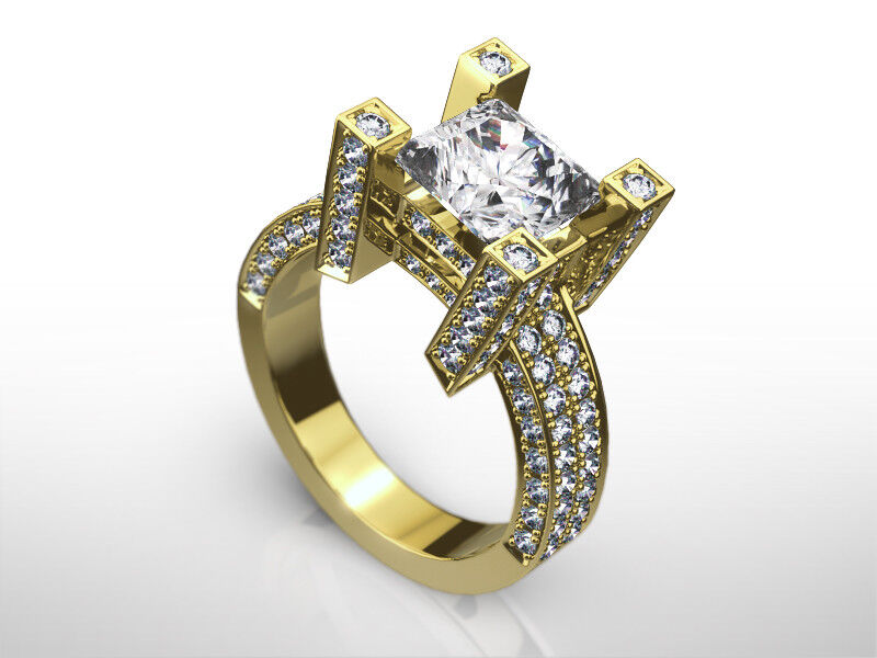 Diamond Princess Ring Colorless 2.5 Ct Anniversary 14 Kt Yellow Gold Women