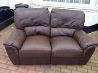 Genuine leather brown 2 seater recliner sofa (only one)