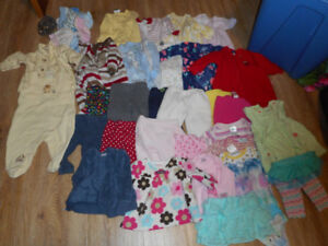 3 to 6 mon clothes lot includes 9 sleepers/3 tops/11 pants/2pc o