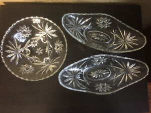 3 Vintage Pressed Glass Candy Dishes