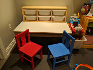 Ikea kids Sundvik table chairs and storage
