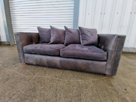 Grey fabric & leather 2 seater sofa 🚚🚚