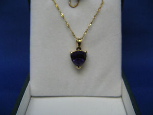 14K Yellow Gold heart shape Amethyst with 14K Y/G Necklace