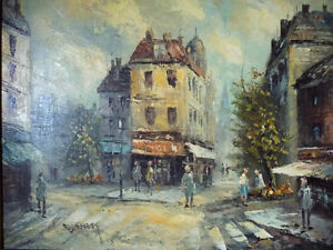 "Old Paris Street Scene by Caroline Burnett ""Corner Shop"" 1950's Stratford Kitchener Area image 2"