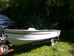 14 ft fishing boat with 15 hp motor and trailer