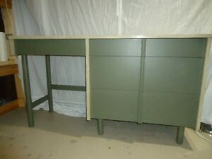#29 Arborite Gray Green Marble Desk with Wood Drawers