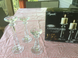 3- Rogaska Candlesticks New in Box Never Used - 24% Lead Crystal