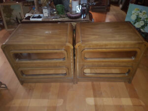 Pair of vintage Retro low night stands. Pressed wood, mirrors on