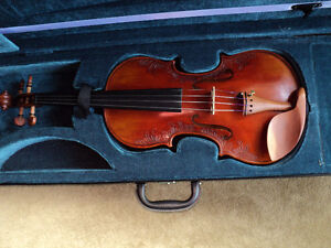 VIOLIN 4/4 FULL SIZE CARVED INLAY SOLID SPRUCE TOP ,MAPLE SIDES London Ontario image 1