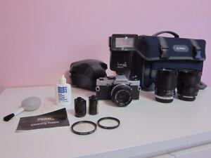 Olympus OM10 Film Camera; 3 Lenses, Flash, Bag, Tripod