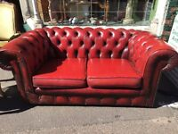 2 seater chesterfield sofa leather vintage retro