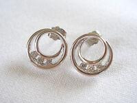 Krementz- .40 Ct. Diamond '3 Stone' 14k Wh. Gold Earrings