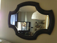 Wall Mirror, End Table, Oversize Leather/Wood Chair