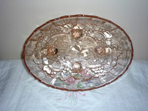 Oval Pink Glass Bowl with small Legs . Exc Condition Cambridge Kitchener Area image 2