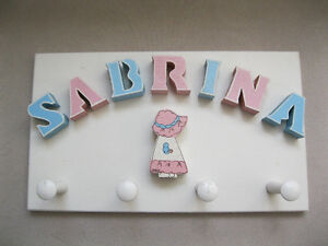 SABRINA wall hanger with 4 hooks Support murale avec 4 crochets