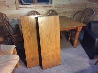 Oak Harvest Table & 8 chairs