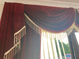 Deep red curtains