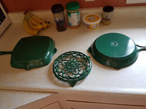 Le Creuset cast iron grill pan, frying pan and trivet