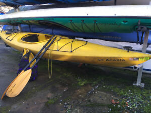 Kayak with paddle and life jacket