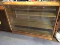 Small Light Oak Bookcase with Glass Sliding Doors - CAN DELIVER