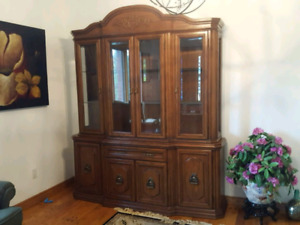 Solid oak dining table, chairs and buffet and hutch