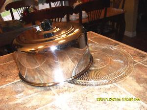 assiette a gateau & couvert chromé retro cake lid & dish  #3225