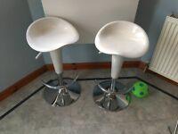 Pair of gloss white stools