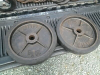 vintage olympic deep dish or bumper weights , shipswheel collars
