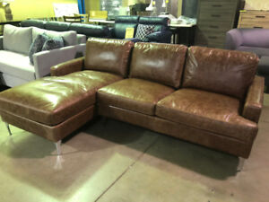 All Leather Loveseat/Chaise - Canadian Made - SALE