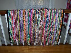 Bright Cheerful and Colorful Vintage Knit Crochet Large Blanket