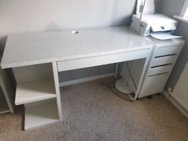 IKEA white desk and chair - upcycled.