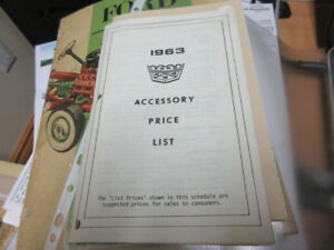 1963 FORD ACCESSORY PRICE LIST