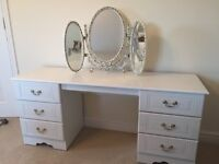 Beautiful White Dressing Table with Mirror