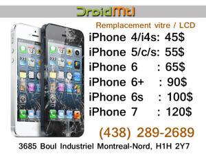 Réparation écran vitre LCD iPhone 5 5c 5s 6 6plus 6s 7 7plus ipo