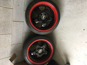 17 rims for BMW. 17x9 rears 17x8. Brand new tires. Great shape