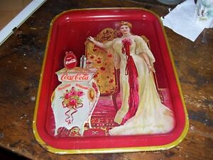 Dressing Lady by Table Coca Cola Coke Tray