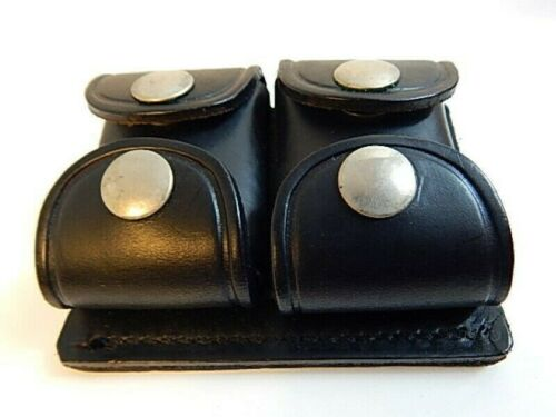 Vintage Jay-Pee Tactical Leather Belt Cartridge Pouch Motorcycle Cop Police Ammo
