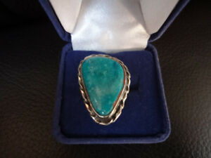 SILVER RING TEAL STONE