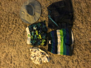 6-12 month baby boy swim bottoms and hats