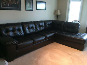 Large Dark Brown Leather Sectional in excellent shape