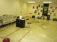 Large Basement business/jam space, recording studio space.