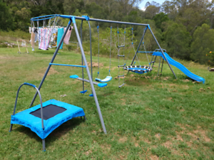 7 Station Swing Set With Slide And Trampoline Kmart