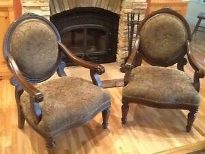 SET OF TWO TOP QUALITY FABRIC AND WOOD ACCENT CHAIRS
