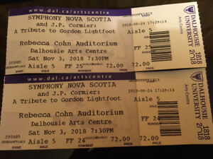 For sale 2 tickets for Symphony Nova Scotia and JP Cormier,