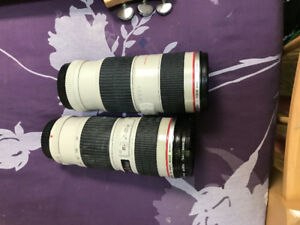 Two CANON EF 70-200 F4 L series USM zoom lenses