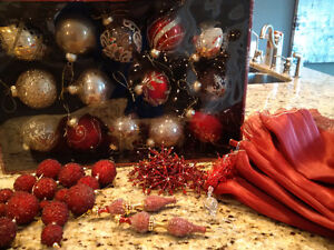 ribbon and bulbs to trim your tree