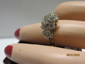 14KT Yellow & White Gold Diamond Cluster Ring (tw 0.75ct)