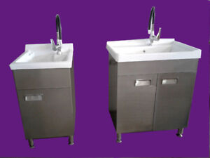 Compact Ceramic Laundry Sink With Metal Cabinet  North York